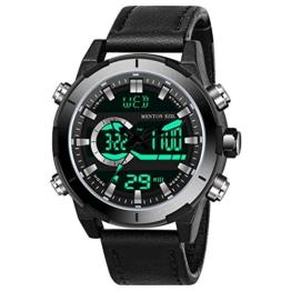 Menton Ezil Digital Herrenuhr mit schwarz Lederband Multifunktionen Alarmuhr Lederarmbanduhr 50M Wasserdicht EL-Hintergrundbeleuchtung Zwei Uhrzeitangaben Geschenk für Männer - 1