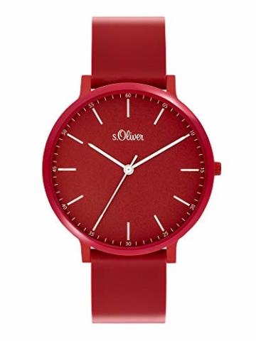 s.Oliver Unisex– Erwachsene Analog Quarz Uhr mit Silicone Armband SO-3953-PQ - 1