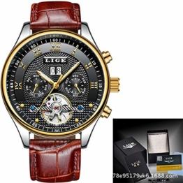 SJXIN Hochwertige LIGE Mechanische Uhr, LIGE Neue Explosion Uhr tourbillon multifunktions automatische mechanische herrenuhr wasserdicht Sport herrenuhr (Color : 4) - 1