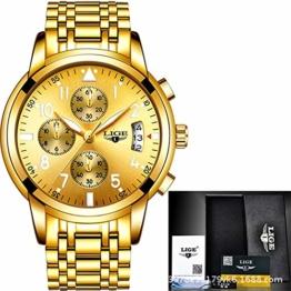 SJXIN Hochwertige LIGE Mechanische Uhr, LIGE-Uhr der Mannquarz-Uhrstahlgürtelmänner automatische leuchtende wasserdichte Uhr der Männer Multifunktionsmode (Color : 3) - 1