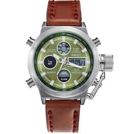 AMST Herren Sport Leinwand Analog Digital LED Alarm Datum Woche Chronograph Multifunktions-Uhr braun - 1