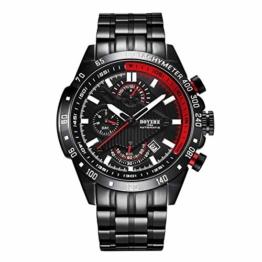 Armbanduhren Sport Mechanik Uhr Automatik Herren Herren Uhren Militär Wasserdicht Kalender Reloj Hombre Herren Geschenke-Rot - 1