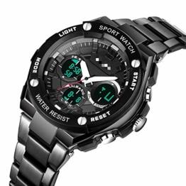 Chronograph Countdown Digitaluhr Für Herren Mode Outdoor Sport Armbanduhr Herrenuhr Wecker Wasserdicht 26.5cm Schwarz - 1