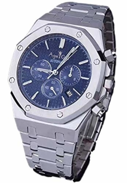 Classic Wristwatch Automatic Mechanical Men Watch Silver Rose Gold Limited Sport Black Blue Grey Sapphire Glass Back See Through White (Silver Blue) - 1