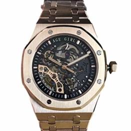 Classic Wristwatch New Automatic Mechanical Men Sapphire Transparent Back See Through Skeleton Rose Gold Full Black Tourbillion Watch (Rose Gold) - 1