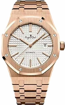 Classic Wristwatch New Men Watch Stainless Steel Automatic Mechanical 18k Yellow Gold Blue Black Sapphire Royal Back See Through Oaks (Rose Gold White) - 1