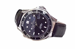 Classic Wristwatch New Mens Automatic Mechanical Watch Silver Black Blue James Bond 007 Ceramic Bezel Crystal Sapphire Leather AAA+ (Leather Black) - 1