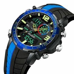 Digitaluhr Herren Sportuhren Mode Dual Display Herren wasserdichte Led Digitaluhr Mann Militäruhr 24cm Blau - 1