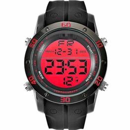 Digitaluhr Legierung Sportuhren Männer Silikon Armband Beständig Digitaluhr Alarm Armbanduhr Männer Geschenk 25cm rot - 1