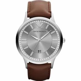 Emporio Armani AR11185 Uhr Herrenuhr Leder-Armband 5 bar Analog Datum braun - 1