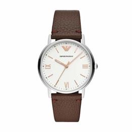 Emporio Armani Herren Analog Quarz Uhr mit Leder Armband AR11173 - 1