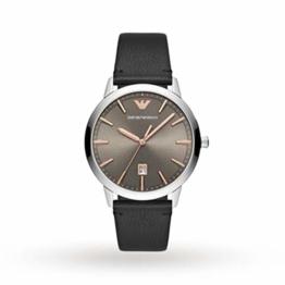 EMPORIO ARMANI Herren Ruggero Gehäuse aus Edelstahl mit Lederarmband Black Watch AR11277 - 1
