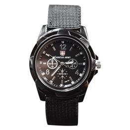 Fanuse Neue Art und Weise, die Militaeruhren Armee Uhr Land, See und Luftwaffen Sport Uhr strickt, schwarz - 1