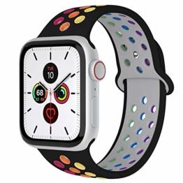 Fengyiyuda Kompatibel mit Apple Watch Armband 38mm 40mm 42mm 44mm, Weiche Silikon Sport Ersatz Armbänder für IWatch Series5 Series4 Series3 Series2 Series1 - 1