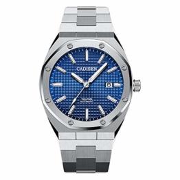 Herren Automatik-Uhr Armbanduhr Automatikwerk Blaues Zifferblatt mit Edelstahl Armband - 1