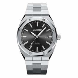 Herren Automatik-Uhr Armbanduhr Automatikwerk mit Edelstahlband (Black) - 1