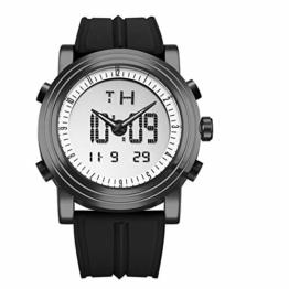 Herren Digitaluhr Herren Chronograph Armbanduhren wasserdichte Genfer Quarz Sport Laufuhr Uhr 19.5cm Schwarz - 1