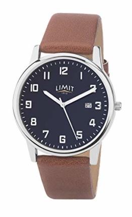 Limit 5743 Herren-Armbanduhr mit blauem Zifferblatt und braunem Armband - 1