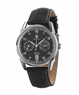 Lip Himalaya 40 Automatischer Kalender Glas Saphir Armband Leder grau 671591 - 1