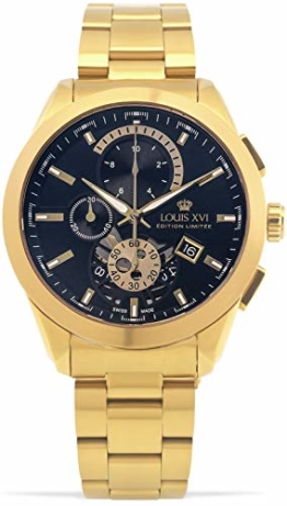 LOUIS XVI Herren-Armbanduhr Libérale Stahlband Gold Schwarz Chronograph Analog Quarz Edelstahl 984 - 1
