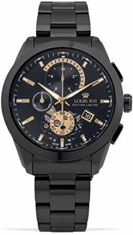 LOUIS XVI Herren-Armbanduhr Libérale Stahlband Schwarz Gold Chronograph Analog Quarz Edelstahl 985 - 1