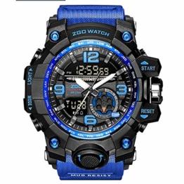 LQST Mens Digital Sports Watch - Multifunktional Military Waterproof Luminous Elektronische Armbanduhren Mit Multifunktions Stoppuhr Chronograph Alarm Und Silikon Band-ArmyGreen - 1
