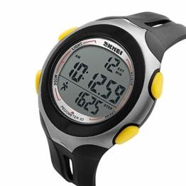 LQST Mens Sports Digital Watch - Multifunktionale wasserdichte rische Elektronische Quarz-Armbanduhren Chronograph Mit Stoppuhr/Alarm/Schrittz;hler-Frauen, Jugendliche Schwarz - 1