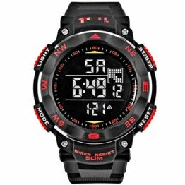 Mode Männer Uhren Digital Led Uhr Militär Männliche Uhr Armbanduhr Outdoor Sport Uhr 21.5cm rot - 1