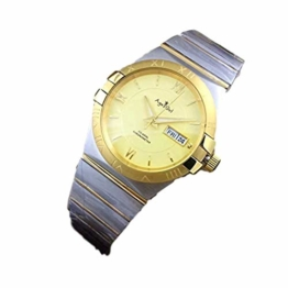 New Men Silver Black White Automatic Mechanical Stainless Steel Sapphire Watches Yellow Gold Rose Rome Glass Back (Gold) - 1