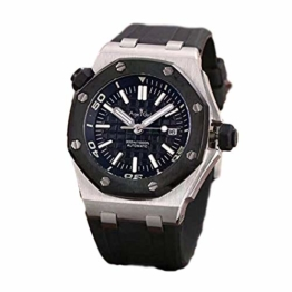 New Men Stainless Steel Automatic Mechanical Watch Diver Sapphire Sport Watches Black Rubber Rose Gold Silver (7) - 1