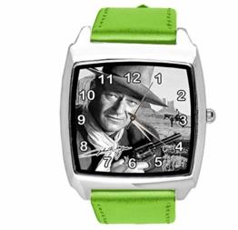 Quadratische Armbanduhr aus grünem Leder für John Wayne Fans - 1