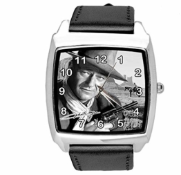 Quadratische Armbanduhr aus schwarzem Leder für Fans von John Wayne - 1