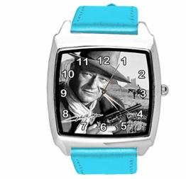 Quadratische Armbanduhr, Leder, Blau - 1