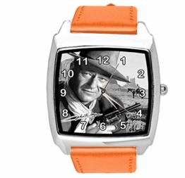 Quadratische Armbanduhr, Leder, Orange - 1