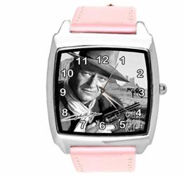Quadratische Armbanduhr, Leder, Rosa - 1