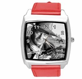 Quadratische Armbanduhr, Leder, Rot - 1