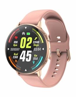 Smartwatch Damen Uhr Telefon Sport Herren Pulsuhr Tracker Uhr mit Blutdruckmessung Armbanduhr Schrittzähler Wasserdicht Kalorienzähler Fitness Armband - 1