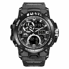 Sportuhr Herren Dual Time Miliatry Uhren Chrono Alarm Armbanduhr Classic Digitaluhr 22cm Schwarz - 1