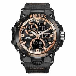 Sportuhr Herren Dual Time Miliatry Uhren Chrono Alarm Armbanduhr Classic Digitaluhr 22cm Gold - 1