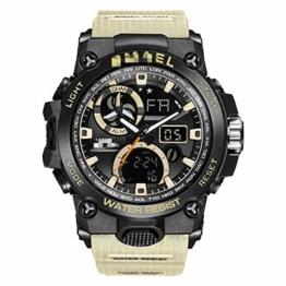 Sportuhr Herren Dual Time Miliatry Uhren Chrono Alarm Armbanduhr Classic Digitaluhr 22cm Khaki - 1