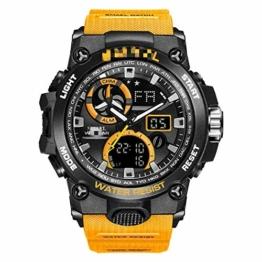 Sportuhr Herren Dual Time Miliatry Uhren Chrono Alarm Armbanduhr Classic Digitaluhr 22cm Orange - 1