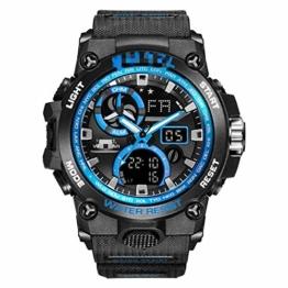 Sportuhr Herren Dual Time Miliatry Uhren Chrono Alarm Armbanduhr Classic Digitaluhr 22cm Schwarz Blau - 1