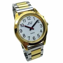 Sprechende Armbanduhr, analog, mit Alarm, Uhrzeit und Datum auf Französisch, für Blind- und Sehbehinderte, goldfarben, zweifarbiges Armband aus Edelstahl TUF-G705 - 1
