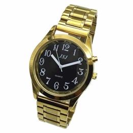 Sprechende Armbanduhr, analog, mit Alarm, Uhrzeit und Datum auf Französisch, für Blind- und Sehbehinderte, goldfarben, doppelte Verriegelung Armband aus Edelstahl TUF-G808 - 1