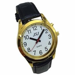 Sprechende Armbanduhr, analog, mit Alarm, Uhrzeit und Datum auf Französisch, für Blind- und Sehbehinderte, goldfarben, Armband aus schwarzem Leder, TUF-G707 - 1