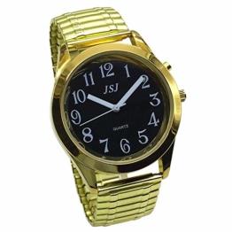 Sprechende Armbanduhr, analog, mit Alarm, Uhrzeit und Datum auf Französisch, für Sehbehinderte, goldfarben, Armband ausziehbar TUF-G802 - 1