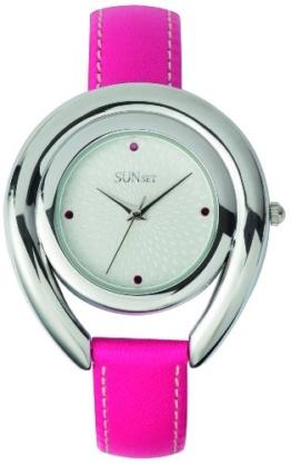 Sunset–2316Damen-Armbanduhr–Quarz Analog–Weißes Ziffernblatt–Armband Leder rosa - 1