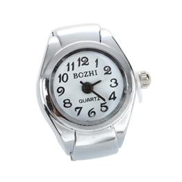 TOOGOO Unisex Quarzlegierung runde Weisse Zifferblatt arabische Ziffern Ring Uhr Silber - 1