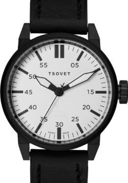 Tsovet FW44Herren Schwarz Leder Armbanduhr svt-fw44–330110–02 - 1