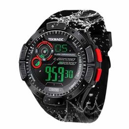 10 ATM wasserdichte Armbanduhr Leuchtend Sportuhr mit Alarm, Chronograph, Kalenderfunktion, 12/24 Stunden Format wählbar - 1
